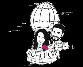 sposi in mongolfiera