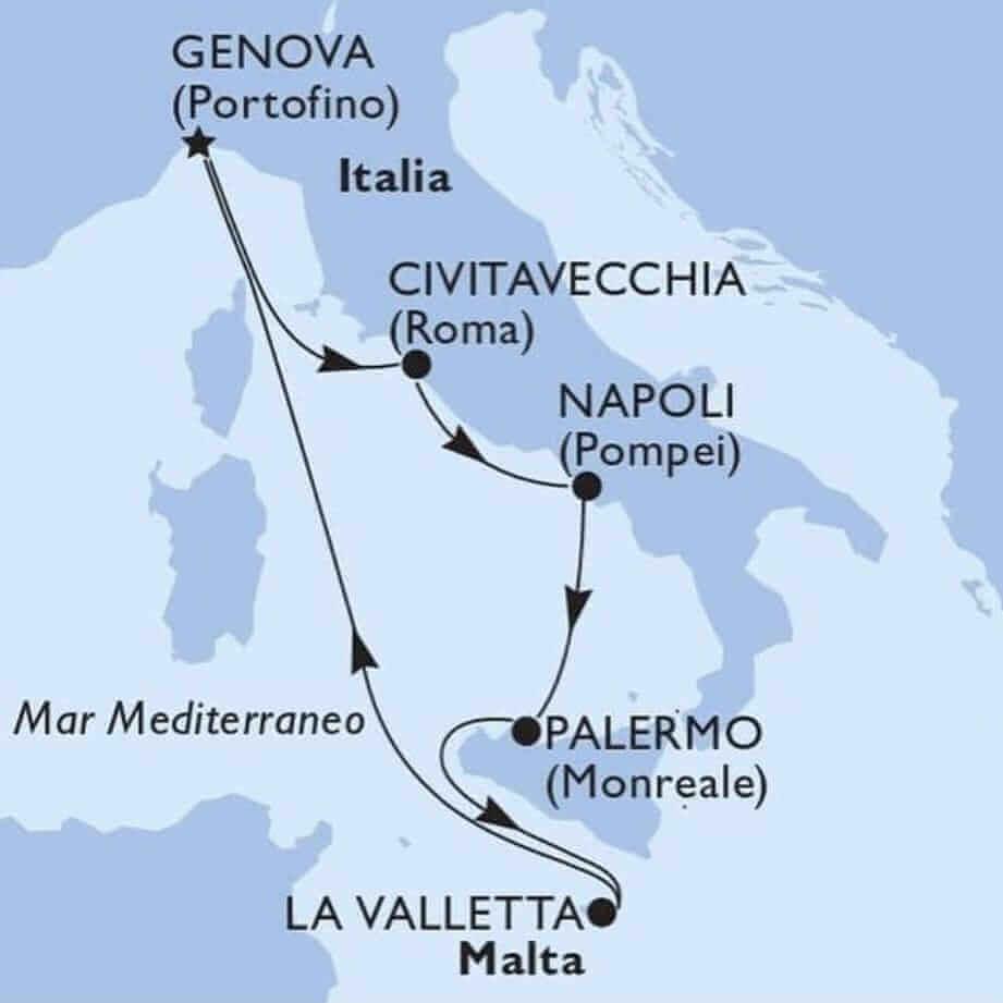 Itinerario Msc Grandiosa